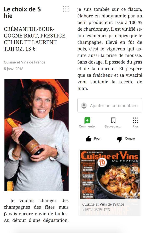 Article sur le Crémant de Bourgogne Prestige, Domaine Céline et Laurent Tripoz